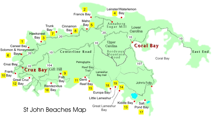 Beaches Map St John